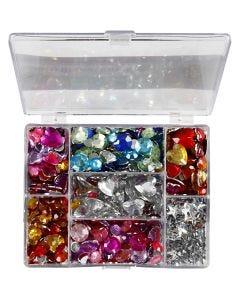 Pierres de strass en boîte, cercle, étoile, coeur, d: 6+7+9+10+11+12+14+16 mm, bleu, rose, argent, 300 pièce/ 1 Pq.