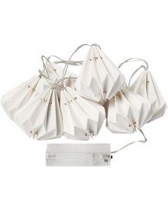 Guirlande de LED avec abat-jours, H: 80 mm, L: 100 cm, d: 65 mm, blanc, 1 pièce