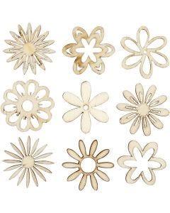 Décorations en bois, fleurs, dim. 28 mm, 45 pièce/ 1 Pq.