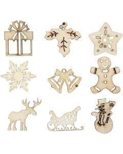 Décorations en bois, Noël, dim. 28 mm, 45 pièce/ 1 Pq.