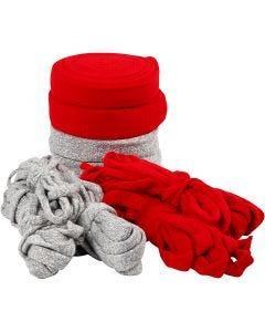 Tricot tubulaire, L: 10-40 mm, gris, rouge, 50 m/ 1 Pq.