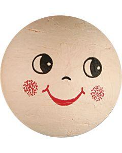 Boules d'ouate avec visages, d: 40 mm, beige clair, 5 pièce/ 1 Pq.