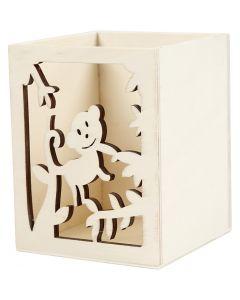 Pot à crayons, singe, H: 10 cm, L: 8 cm, 1 pièce