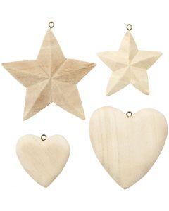 Coeurs et étoiles, 4 pièce/ 1 Pq.