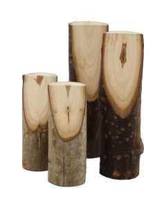 Bout de bois décoratifs coupés en biais, H: 8+12 cm, d: 2,5-3,5 cm, 4 pièce/ 1 Pq.