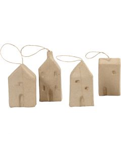 Maison, H: 9,5-12 cm, L: 5,5-6,5 cm, L: 3 cm, 4 pièce/ 1 Pq.