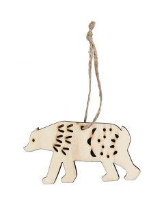 Objet décoratif, ours polaire, H: 4,5 cm, prof. 0,5 cm, L: 7,5 cm, 4 pièce/ 1 Pq.