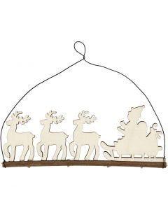 Décoration de Noël, traîneau avec rennes, H: 8 cm, L: 22 cm, 1 pièce
