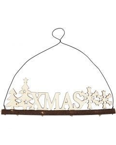 Décoration de Noël, XMAS, H: 7 cm, L: 22 cm, 1 pièce