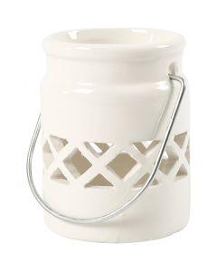 Lanterne, H: 8 cm, d: 6,2 cm, 2. sort, blanc, 2 pièce/ 1 Pq.