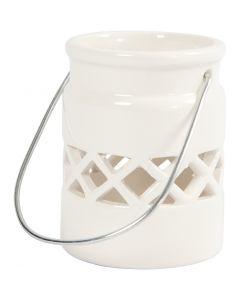 Lanterne, H: 8 cm, d: 6,2 cm, blanc, 2 pièce/ 1 Pq.