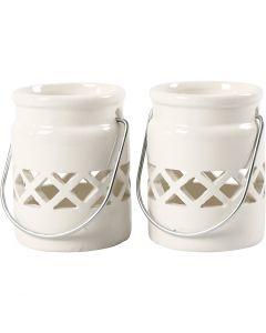 Lanterne, H: 8 cm, d: 6,2 cm, 2. sort, blanc, 6 pièce/ 1 boîte