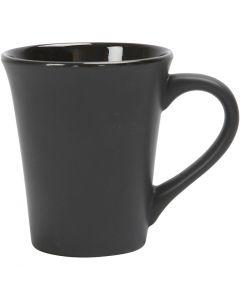 Tasses en porcelaine, H: 10 cm, d: 5,9-8,7 cm, noir, 1 pièce