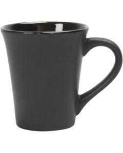 Tasses en porcelaine, H: 10 cm, d: 5,9-8,7 cm, 300 ml, noir, 12 pièce/ 1 boîte