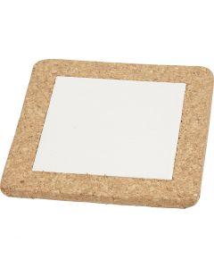 Dessous-de-plat avec cadre en liège, dim. 15,5x15,5x1 cm, blanc, 10 pièce/ 1 boîte