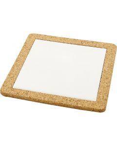 Dessous-de-plat avec cadre en liège, dim. 19x19 cm, blanc, 10 pièce/ 1 boîte