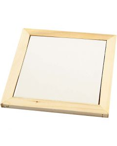 Dessous-de-plat avec cadre en bois, dim. 15x15 cm, 1 pièce