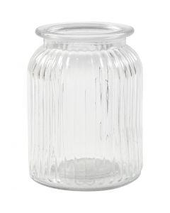Jarre en verre, H: 14,5 cm, d: 11 cm, diamètre intérieur 7 cm, 6 pièce/ 1 boîte
