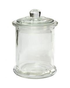 Bocal avec couvercle, H: 14,5 cm, d: 8 cm, 10 pièce/ 1 boîte