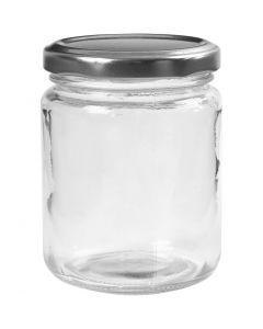 Pot en verre, H: 9,1 cm, d: 6,8 cm, 240 ml, transparent, 12 pièce/ 1 boîte