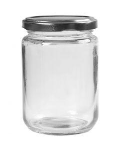 Pot en verre, H: 11 cm, d: 7,5 cm, 370 ml, transparent, 6 pièce/ 1 boîte