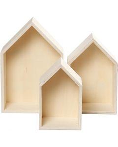 Boîtes de rangement, houses, H: 20,3+25,3+31 cm, prof. 10 cm, L: 13+16,2+20 cm, 3 pièce/ 1 set
