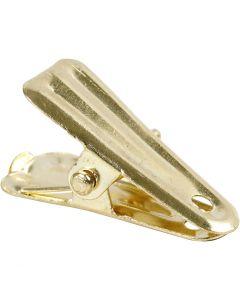 Pince pour décoration, L: 27 mm, L: 14 mm, or, 10 pièce/ 1 Pq.