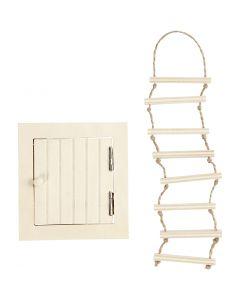 Trappe d'accès au grenier et échelle de corde, dim. 9-20 cm, 1 set