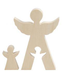 Figurine 2 en 1, anges, H: 7,8+20 cm, prof. 2 cm, L: 4,5+14,3 cm, 1 set
