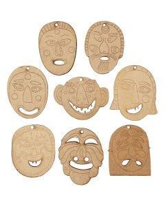 Masques, dim. 5,5-7 cm, ép. 4 mm, 24 pièce/ 1 Pq.
