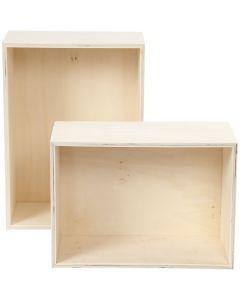 Boîtes de rangement, rectangle, H: 27+31 cm, prof. 12,5 cm, L: 19,5+22,5 cm, 2 pièce/ 1 set