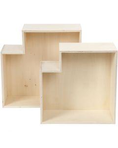Boîtes de rangement, H: 27+31 cm, prof. 12,5 cm, 2 pièce/ 1 set