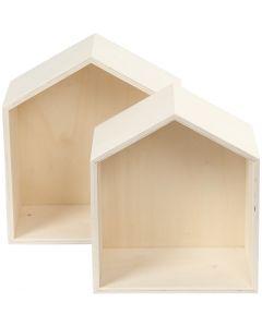 Boîtes de rangement, maisons, H: 22,5+25 cm, prof. 12,5 cm, L: 19,5+22,5 cm, 2 pièce/ 1 set