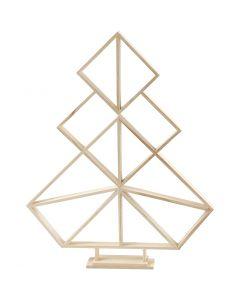 Sapin de Noël géométrique en bois, H: 60 cm, L: 47 cm, 1 pièce