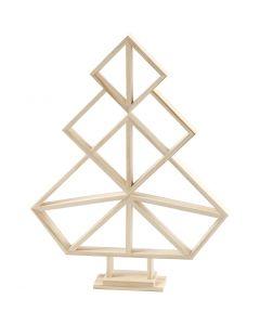 Sapin de Noël géométrique en bois, H: 40 cm, L: 31 cm, 1 pièce
