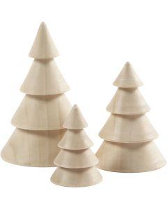 Sapins de Noël en bois, H: 5+7,5+10 cm, d: 3,5+5,4+6,7 cm, 3 pièce/ 1 Pq.