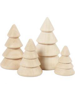 Sapins de Noël en bois, H: 3,3+4,3+5,3+6,3 cm, d: 2,3+3+3,2+4 cm, 4 pièce/ 1 Pq.