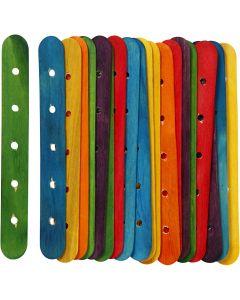Bâtons avec trous, L: 15 cm, L: 1,8 cm, diamètre intérieur 4 mm, couleurs assorties, 20 ass./ 1 Pq.