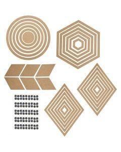Décorations murales, H: 5,5-29,5 cm, Le contenu peut varier , 10 set/ 1 Pq.