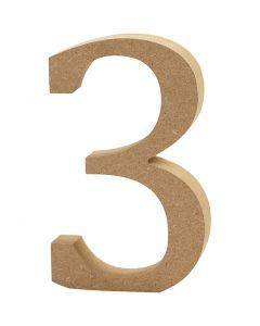 Chiffre, 3, H: 8 cm, ép. 1,5 cm, 1 pièce