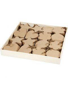 Décorations en bois, dim. 10 cm, ép. 2,5 mm, 4x40 pièce/ 1 Pq.