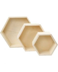 Boîtes de rangement, hexagonales, H: 14,8+19+24,2 cm, prof. 10 cm, 3 pièce/ 1 set