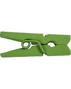 Mini-épingle à linge, L: 25 mm, L: 3 mm, vert, 36 pièce/ 1 Pq.