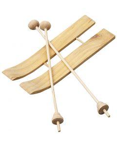 Skis et bâtons, dim. 11x3,8 cm, 3 paire/ 1 Pq.