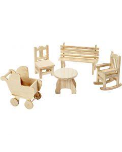 Mini-meubles, table de jardin, landau, mini-chaise, fauteuil à bascule, banc, H: 5,8-10,5 cm, 50 pièce/ 1 Pq.