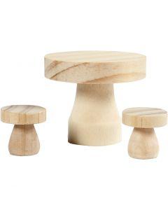Table champignon avec chaises, dim. 2,5x2,5 cm, 1 set