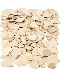 Coeurs mosaïque en bois, dim. 18-30 mm, 250 pièce/ 1 Pq.