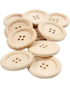 Boutons en bois, d: 35 mm, diamètre intérieur 2 mm, 4 trous, 10 pièce/ 1 Pq.