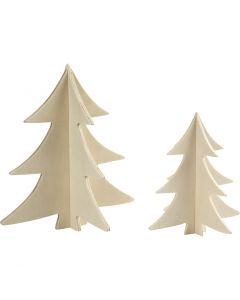 Sapins de Noël, H: 13+18 cm, 2 pièce/ 1 Pq.