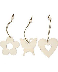 Décorations en bois, fleur, papillon, coeur, dim. 6 cm, 9 pièce/ 1 Pq.